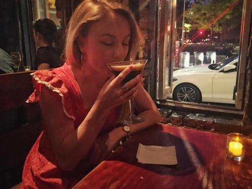 Josie enjoying the finest of espresso martinis